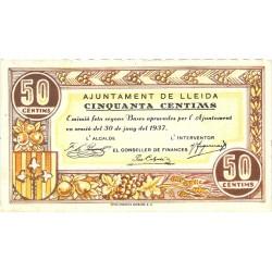 España 50 Cts. 1937. LLEIDA-(L). EBC. (Muy nuevo con doblez). (Ayuntamiento). TU. 1537 - LGC. 849 B