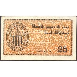 España 25 Cts. 1937. LLEVANTI DE MAR-(St.Antoni)-(Gi). EBC-/EBC. (muy nuevo con doblez). (Ayuntamiento-Serie A). RARO/A. TU. 1