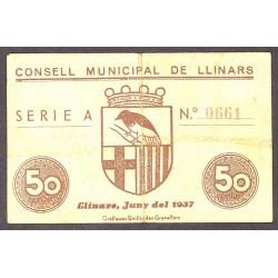 España 50 Cts. 1937. LLINARS-(del Valles)-(B). MBC/MBC+. (Consejo-Serie A). TU. 1547 - LGC. 852 A