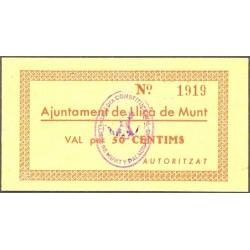 España 50 Cts. 1937. LLIÇA DE MUNT-(B). EBC+/SC-. (Nuevo con lev.doblez). (Ayuntamiento). MUY RARO/A. TU. 1545 a - LGC. 851 A