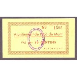 España 50 Cts. 1937. LLIÇA DE MUNT-(B). SC. (Ayuntamiento). MUY RARO/A. y mas en esta calidad. TU. 1545 - LGC. 851 A