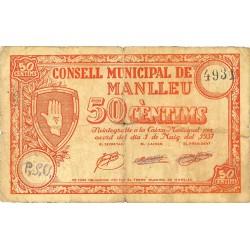 España 50 Cts. 1937. MANLLEU-(B). MBC-/BC+. (Dobleces). (Consejo). LGC. 877 B