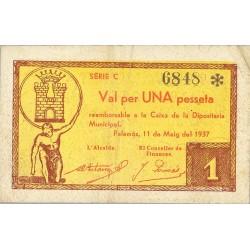 España 1 Ptas. 1937. PALAMOS-(Gi). MBC/MBC+. (Depositaria-Serie B). ESCASO/A. TU. 2004 - LGC. 1058 B