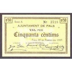 España 50 Cts. 1937. PALS-(Gi). SC-. (Nuevo con lev marca de doblez). (Ayuntamiento-Serie A). MUY RARO/A. TU. 2051