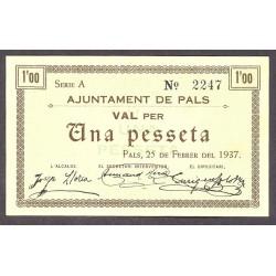 España 1 Ptas. 1937. PALS-(Gi). SC. (Ayuntamiento-Serie A). RARO/A. TU. 2050 - LGC. 1069 B