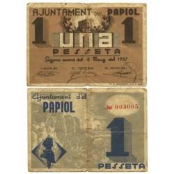 España 1 Ptas. 1937. PAPIOL.-El-(B). BC+. (Ayuntamiento). ESCASO/A. TU. 2054 - LGC. 1072 C