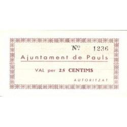 España 25 Cts. 1937. PAULS-(dels Ports)-(T). SC. (Ayuntamiento). RARO/A. y mas asi. TU. 2079 - LGC. 1084 A