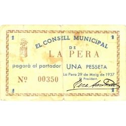 España 1 Ptas. 1937. PERA.-La-(Gi). MBC-. (Consejo). TU. 2086 - LGC. 1101 A