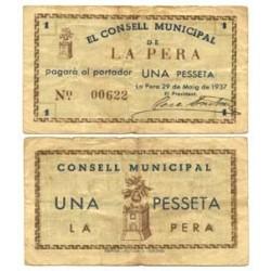 España 1 Ptas. 1937. PERA.-La-(Gi). MBC. (Consejo). TU. 2086 - LGC. 1101 A