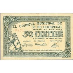 España 50 Cts. 1937. PI DE LLOBREGAT-(St.Joan Despi)-(B). MBC+. (Doblez ). (Consejo). TU. 2102 a - LGC. 1110 A