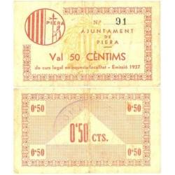España 50 Cts. 1937. PIERA-(B). MBC+. (Doblez). (Ayuntamiento). RARO/A. TU. 2104 - LGC. 1113 A