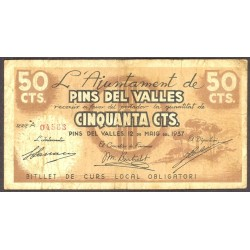 España 50 Cts. 1937. PINS DEL VALLES-(St.Cugat)-(B). BC+/MBC-. (Doblez.Bastante usado). (Ayuntamiento-Serie A). TU. 2128 - LGC