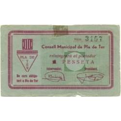 España 1 Ptas. 1937. PLA DE TER-(Gi). EBC+. (Señal de charnela.Roturita). (Sin sell en seco). (Consejo). ESCASO/A. TU. 2148 a
