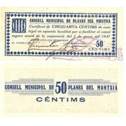 España 50 Cts. 1937. PLANES DEL MONTSIA-(Sta.Barbara)-(T). EBC+. (Muy nuevo con doblez). (Consejo). MUY RARO/A. TU. 2163 - LGC