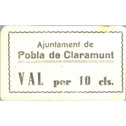 España 10 Cts. 1937. POBLA DE CLARAMUNT-(B). EBC+. (Ayuntamiento). RARISIMO/A. TU. 2193 - LGC. 1138 H