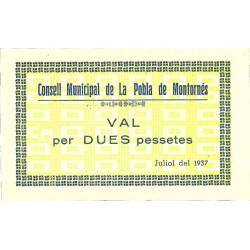 España 2 Ptas. 1937. POBLA DE MONTORNES.-La-(T). SC. (Consejo-Serie D). RARISIMO/A. TU. 2209 - LGC. 1142 H