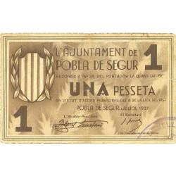 España 1 Ptas. 1937. POBLA DE SEGUR.-La-(L). MBC. (Insg. roturita). (Ajuntamiento). TU. 2217 - LGC. 1143 E
