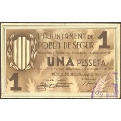 España 1 Ptas. 1937. POBLA DE SEGUR.-La-(L). EBC-. (Doblez). (Ayuntamiento). TU. 2217 - LGC. 1143 E
