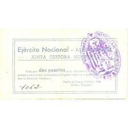 España 2 Ptas. 1938. POBLA DE SEGUR.-La-(L). MBC+/EBC-. (Junta gestora). TU. 2222 - LGC. 1143 -I