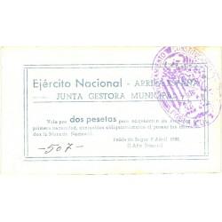 España 2 Ptas. 1938. POBLA DE SEGUR.-La-(L). EBC+/SC-. (Junta gestora). TU. 2222 - LGC. 1143 -I