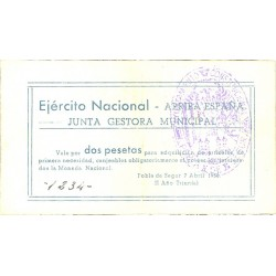 España 2 Ptas. 1938. POBLA DE SEGUR.-La-(L). EBC. (Junta gestora). TU. 2222 - LGC. 1143 -I