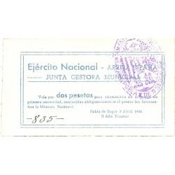España 2 Ptas. 1938. POBLA DE SEGUR.-La-(L). SC. (Junta gestora). TU. 2222 - LGC. 1143 -I