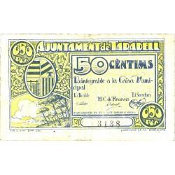 España 50 Cts. 1937. TARADELL-(L). MBC/MBC+. (Doblez). (Ayuntamiento). TU. 2825 - LGC. 1401 D