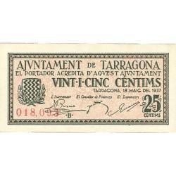España 25 Cts. 1937. TARRAGONA (T). SC. (Ayuntamiento-Serie B). TU. 2829 b - LGC. 1403 A