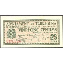 España 25 Cts. 1937. TARRAGONA (T). SC-. (Nuevo con casi inap.marquita de doblez). (Ayuntamiento-Serie B). TU. 2829 b - LGC. 1