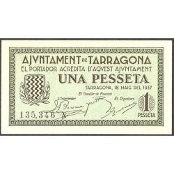 España 1 Ptas. 1937. TARRAGONA (T). SC. (Serie A-Ayuntamiento). TU. 2827 - LGC. 1403 C