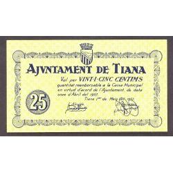 España 25 Cts. 1937. TIANA-(B). SC. (Ayuntamiento). RARO/A. TU. 2856 - LGC. 1415 C