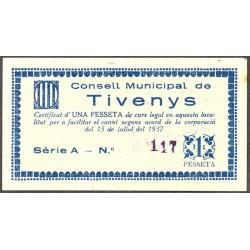 España 1 Ptas. 1937. TIVENYS-(T). MBC-. (Serie A-Consejo). RARISIMO/A. TU. 2867 - LGC. 1423 C
