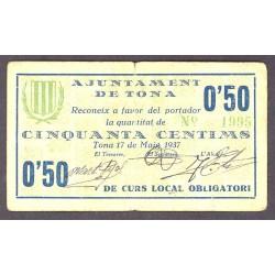 España 50 Cts. 1937. TONA-(B). MBC. (Doblez). (Cartoncillo). (Ayuntamiento). RARO/A. TU. 2895 a - LGC. 1430 A