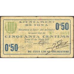 España 50 Cts. 1937. TONA-(B). MBC-. (Doblez). (Cartoncillo). (Ayuntamiento). RARO/A. TU. 2895 a - LGC. 1430 A