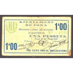 España 1 Ptas. 1937. TONA-(B). MBC/MBC-. (Doblez.Manchita en margen). (Ayuntamiento). RARO/A. TU. 2894 - LGC. 1430 B