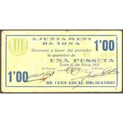 España 1 Ptas. 1937. TONA-(B). MBC+. (Doblez). (Ayuntamiento). RARO/A. TU. 2894 - LGC. 1430 B
