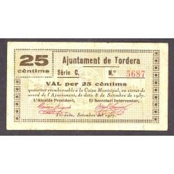 España 25 Cts. 1937. TORDERA-(B). MBC+/MBC. (Doblez). (Ayuntamiento-Serie C). ESCASO/A. TU. 2907 - LGC. 1432 C