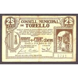 España 25 Cts. 1937. TORELLO-(B). MBC-. (Doblez). (Consejo). TU. 2909 - LGC. 1433 B