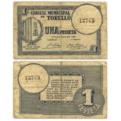España 1 Ptas. 1937. TORELLO-(B). MBC. (Consejo). TU. 2908 a - LGC. 1433 A