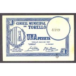 España 1 Ptas. 1937. TORELLO-(B). SC. (Consejo). TU. 2908 - LGC. 1433 A