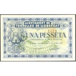 España 1 Ptas. 1937. TORRELLLES DE LLOBREGAT-(B). SC/SC-. (Nuevo con casi inap.ondulación). (Ayuntamiento). RARO/A. TU. 2972 b