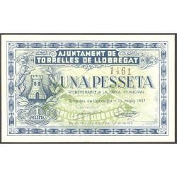 España 1 Ptas. 1937. TORRELLLES DE LLOBREGAT-(B). SC. (Numeración según estoc). (Ayuntamiento). RARO/A. TU. 2972 b - TU. 1459