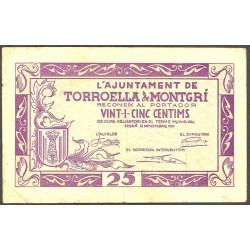 España 25 Cts. 1937. TORROELLA DE MONTGRI-(Gi). MBC. (Doblez). (Ayuntamiento). ESCASO/A. TU. 2985 - LGC. 1472 F