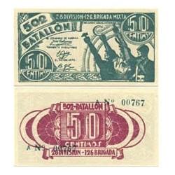 España 50 Cts. 1937. Madrid ?. SC. (Billete impreso para uso de la tropa del ejercito del Este, comandado por Durruti). (Seri