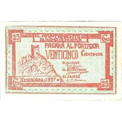 España 25 Cts. 1937. ALHAMA DE MURCIA-(MU). EBC+. (Nuevo con doblez). (Ayuntamiento-Serie B). LGC. 122 A