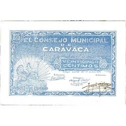 España 25 Cts. 1937. CARAVACA-(MU). SC. (Consejo-Serie J). ESCASO/A. y mas asi. LGC. 447 F