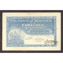 España 25 Cts. 1937. CARAVACA-(MU). MBC+/EBC-. (Lev.marquitas). (Serie B-Consejo). ESCASO/A. LGC. 447 F