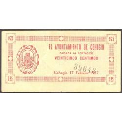España 25 Cts. 1937. CEHEGIN-(MU). MBC+. (Doblez). (Ayuntamiento). ESCASO/A. LGC. 513 A