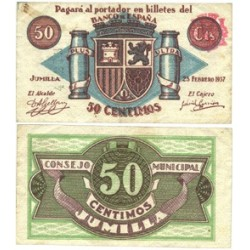 España 50 Cts. 1937. JUMILLA-(MU). EBC+. (Lev.doblez y manchita). (Consejo). LGC. 804 B