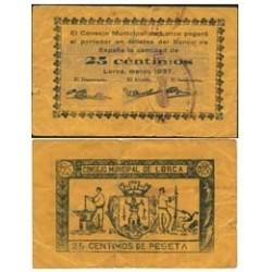 España 25 Cts. 1937. LORCA-(MU). MBC+. (Pqñas.roturitas). (Consejo). RARO/A. LGC. 827 A